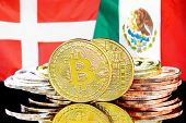 Concept For Investors In Cryptocurrency And Blockchain Technology In The Denmark And Mexico. Bitcoin poster
