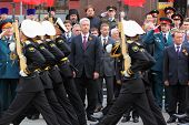 MOSCOW - MAY 8: Moscow Mayor Sergei Sobyanin, State Duma deputies and veterans look military parade