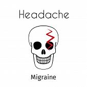 Headache Linear Icon. Vector Abstract Minimal Illustration Of Skull With Red Zigzag On The Head Suff poster
