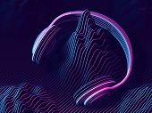 3d Headphone With Sound Waves On Dark Background. Abstract Visualization Of Digital Sound And Cyber  poster