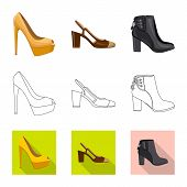 Isolated Object Of Footwear And Woman Logo. Set Of Footwear And Foot Vector Icon For Stock. poster