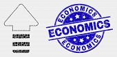 Dotted Update Arrow Mosaic Icon And Economics Seal Stamp. Blue Vector Round Grunge Stamp With Econom poster