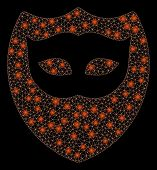 Flare Mesh Mask Shield With Sparkle Effect. Abstract Illuminated Model Of Mask Shield Icon. Shiny Wi poster