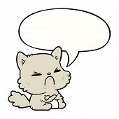 cute cartoon angry cat with speech bubble poster