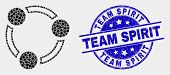 Dotted Collaboration Mosaic Icon And Team Spirit Seal Stamp. Blue Vector Round Distress Seal Stamp W poster