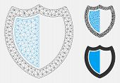 Mesh Shield Model With Triangle Mosaic Icon. Wire Carcass Polygonal Mesh Of Shield. Vector Mosaic Of poster