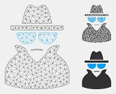 Mesh Spy Model With Triangle Mosaic Icon. Wire Frame Triangular Mesh Of Spy. Vector Mosaic Of Triang poster