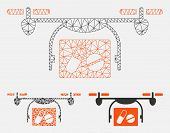 Mesh Medical Quadcopter Model With Triangle Mosaic Icon. Wire Carcass Triangular Mesh Of Medical Qua poster