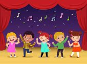 Group Of Kids Dancing And Singing A Song On The Stage. Children's Performance. poster