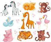 Collection Of Pairs Of Animals. Mom And Baby. Vector Illustration On White Background. poster