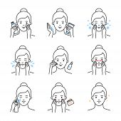 Daily Skin Care, Facial Cleansing And Moisturizing Procedures Vector Icons Set poster