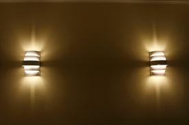 foto of lamp shade  - two lamp shade in a wall at night - JPG