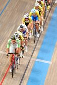 VIENNA,  AUSTRIA - SEPTEMBER 28  Andreas Graf (Austria) leads the peloton in the men's scratch race