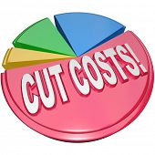 stock photo of slash  - The words Cut Costs on a pie chart to symbolize the need to reduce overhead and debt burdens to increase profitability and health of a business or family finances - JPG