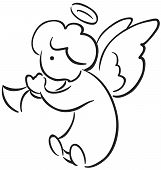 stock photo of angel-trumpet  - Black and white sketch of cute littel angel with a trumpet - JPG