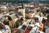 LVIV, UKRAINE - AUGUST 8: Top view of the Cathedral in the Old Town on August 8, 2012 in Lviv, Ukrai