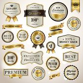 stock photo of gold  - Set luxury vector labels and ribbons for sale and product promotion - JPG