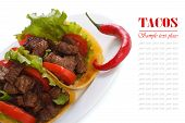 stock photo of tacos  - Mexican tacos with chili peppers isolated on a white close - JPG