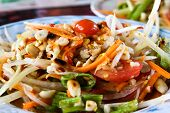stock photo of green papaya salad  - Thai papaya salad also known as Som Tum from Thailand - JPG