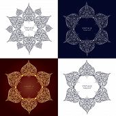stock photo of scrollwork  - Set of four ornamental round lace - JPG