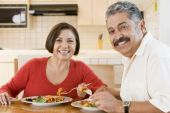 Elderly Couple Enjoying Meal, Mealtime Together