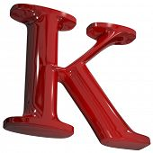 stock photo of letter k  - 3d shiny red letter collection  - JPG
