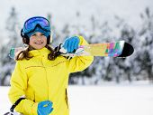 Ski, skier, winter sports - portrait of happy young skier