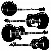 picture of acoustic guitar  - Acoustic guitars and banjo in detailed vector silhouette - JPG