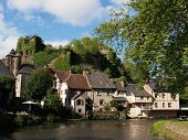 stock photo of chateau  - Segur le Chateau has been selected as one of the most beautiful villages of France with castle ruins dating from the 12th century - JPG