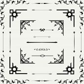 stock photo of curves  - Vector set of decorative horizontal floral elements corners borders frame  - JPG