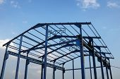 image of structural engineering  - Steel structure of a new industrial building - JPG