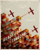 stock photo of isometric  - Retro Geometric Pattern with clouds and airplanes - JPG