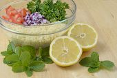 foto of tabouleh  - Tabouleh coucous salad with all ingredients displayed - JPG