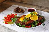 stock photo of roast duck  - Roasted duck with orange - JPG
