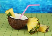 stock photo of pina-colada  - Pina colada drink in coconut - JPG