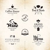 stock photo of restaurant  - Label set for restaurant menu design - JPG