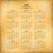 pic of calendar 2014  - Vector 2014 calendar template on old vintage paper - JPG