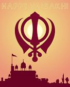 stock photo of sikh  - an illustration of a happy vaisakhi greeting card design with a gurdwara at sundown and a sikh symbol - JPG