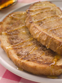 stock photo of french toast  - Breakfast French Toast Cinnamon Maple Syrup Syrup Bread Sweet American Cuisine American Food Baked Baking Close - JPG