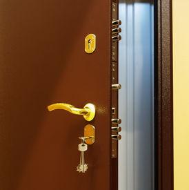 stock photo of door-handle  - Interior beautiful modern doors with built - JPG