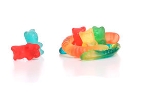 foto of gummy bear  - Colored gummy bears isolated over white background - JPG