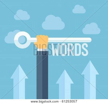 Seo Keywords Flat Illustration Concept poster