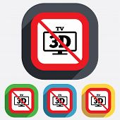 No 3D TV sign icon. 3D Television set symbol.