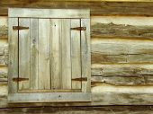 image of log cabin  - window in a log home or cabin - JPG