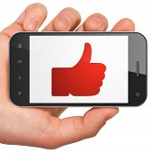 Social media concept: Thumb Up on smartphone