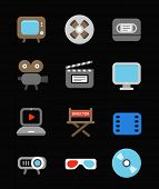 Different color media industry icons set. Design elements