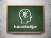 Education concept: Head With Lightbulb and Knowledge on chalkboard background