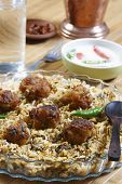 foto of biryani  - Kofta Biryani - Kofta is a family of meatball or dumpling dishes in India. In the simplest form, koftas consist of balls of minced or ground meat usually lamb  mixed with spices and/or onions. T