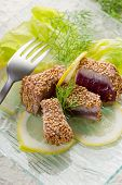 foto of yellowfin tuna  - grilled tuna with seed sesame - JPG