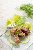 stock photo of yellowfin tuna  - grilled tuna with seed sesame - JPG